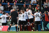 Dover players celebrate their opening goal scored by Ruel Sotiriou with the fans during Dover Athletic vs Southend United, Emirates FA Cup Football at the Crabble Athletic Ground on 10th November 2019