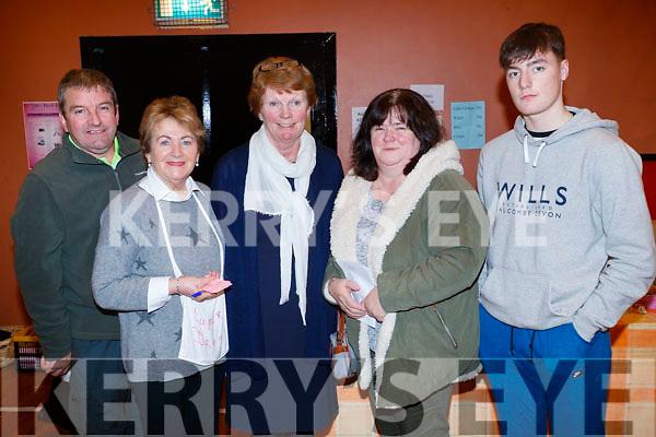 Bernard Lynch, Ita Behan, Nora Maher, Jactina O'Mahony and Dean Rusk, pictured at St. John's Parish Bazaar, held at the KDYS, Tralee on Saturday night last.