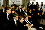 Wymondham College in Norfolk State run boarding school.1990s UK  1991 They are all watching TV in a common room.