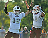 Kevin McCleneghan #12 kicker, left, and holder / quarterback Michael Proios #10 of Mepham react after combining for a successful PAT kick to lift the Pirates to a thrilling 35-34 win over MacArthur in a Nassau County Conference II varsity football game at Mepham High School on Saturday, Sept. 9, 2017. Proios orchestrated a scoring drive which resutled in a touchdown with eight seconds left to lead the Pirates to a dramatic Week 1 victory.