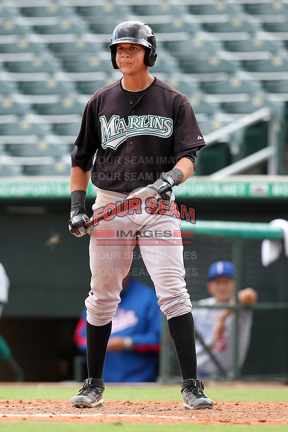 Viosergy Rosa #34 of the Florida Marlins instructional League team during a game against the Italian National Team at the Roger Dean Stadium in Jupiter, Florida;  September 27, 2011.  Italy is training in Florida for the Baseball World Cup.  (Mike Janes/Four Seam Images)