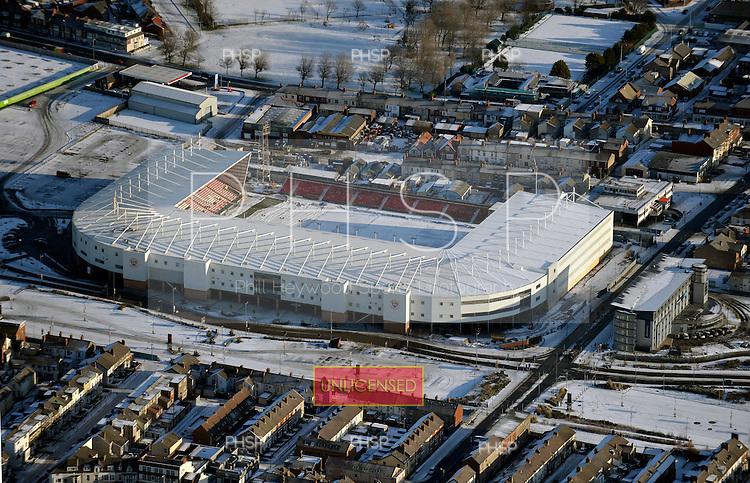 09/01/2010  Blackpool & Fylde Coast Aerial snow views..Blackpool FC....© Phill Heywood.