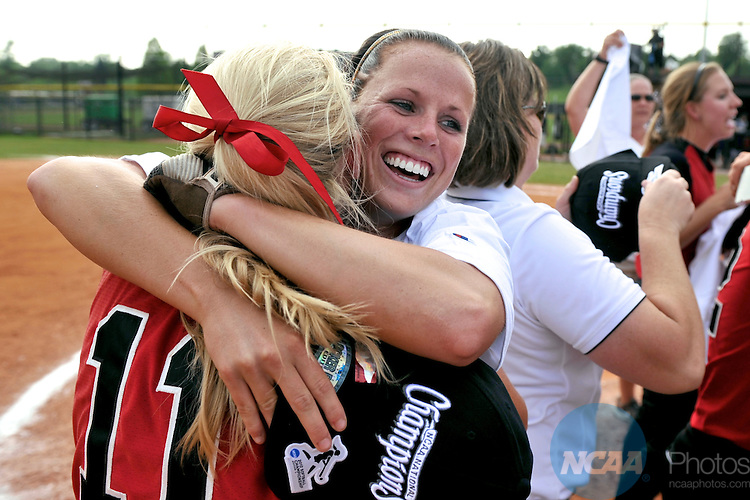 19 MAY 2012: Samantha Posey of Valdosta State hugs Courtney Albritton hugs her teammate after defeating winning the Division II Women's Softball Championship held at Knights Field on the campus of the Bellarman University in Louisville, KY. Valdosta State defeated UC San Diego 4-1 to claim the national title. Stephen Nowland/NCAA Photos