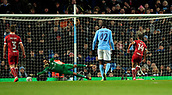 9th January 2018, Etihad Stadium, Manchester, England; Carabao Cup football, semi-final, 1st leg, Manchester City versus Bristol City; Bobby Reid of Bristol City scores from the penalty spot in the 43rd minute to make it 1-0 to Bristol City