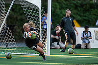 Seattle, WA - Saturday, July 02, 2016: Seattle Reign FC goalkeeper Andi Tostanoski (24) prior to a regular season National Women's Soccer League (NWSL) match between the Seattle Reign FC and the Boston Breakers  at Memorial Stadium.