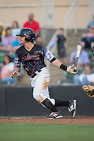 Grant Massey (8) of the Kannapolis Intimidators follows through on his swing against the Delmarva Shorebirds at Kannapolis Intimidators Stadium on June 25, 2016 in Kannapolis, North Carolina.  The Intimidators defeated the Shorebirds 2-1.  (Brian Westerholt/Four Seam Images)