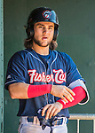 31 May 2018: New Hampshire Fisher Cats infielder Bo Bichette stands ready in the dugout to take an at bat against the Portland Sea Dogs at Northeast Delta Dental Stadium in Manchester, NH. The Sea Dogs defeated the Fisher Cats 12-9 in extra innings. Mandatory Credit: Ed Wolfstein Photo *** RAW (NEF) Image File Available ***