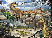 Interlitho, Lorenzo, REALISTIC ANIMALS, paintings, diff.dinosaurs, KL4351,#A# realistische Tiere, realista, illustrations, pinturas ,puzzles