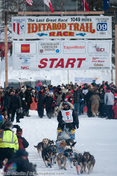 Musher # 5 Rick Larson at the Restart of the 2009 Iditarod in Willow Alaska