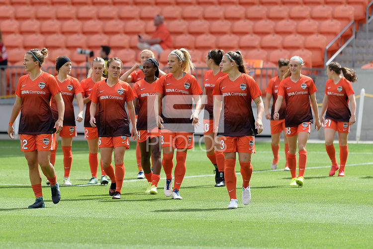 Houston, TX - Sunday March 25, 2018: Houston Dash during a regular season National Women's Soccer League (NWSL) match between the Houston Dash and the Chicago Red Stars at BBVA Compass Stadium.