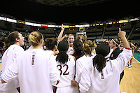 5 March 2007: Jayne Appel, Morgan Clyburn, Christy Titchenal, Jillian Harmon, Melanie Murphy, J.J. Hones and the team during Stanford's 62-55 win over ASU in the finals of the women's Pac-10 tournament championship at HP Pavilion in San Jose, CA.