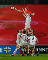 9th November 2019; Thomond Park, Limerick, Munster, Ireland; Guinness Pro 14 Rugby, Munster versus Ulster; Alan O'Connor of Ulster and Peter O'Mahony (c) of Munster challenge for the line-out ball - Editorial Use