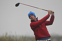 Jack McDonnell (Forrest Little) on the 1st tee during Round 1 - Matchplay of the North of Ireland Championship at Royal Portrush Golf Club, Portrush, Co. Antrim on Wednesday 11th July 2018.<br /> Picture:  Thos Caffrey / Golffile