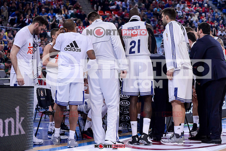 Real Madrid's Rudy Fernandez, Dontaye Draper, Jonas Maciulis, Othello Hunter and Felipe Reyes during Quarter Finals match of 2017 King's Cup at Fernando Buesa Arena in Vitoria, Spain. February 16, 2017. (ALTERPHOTOS/BorjaB.Hojas) /Nortephoto.com