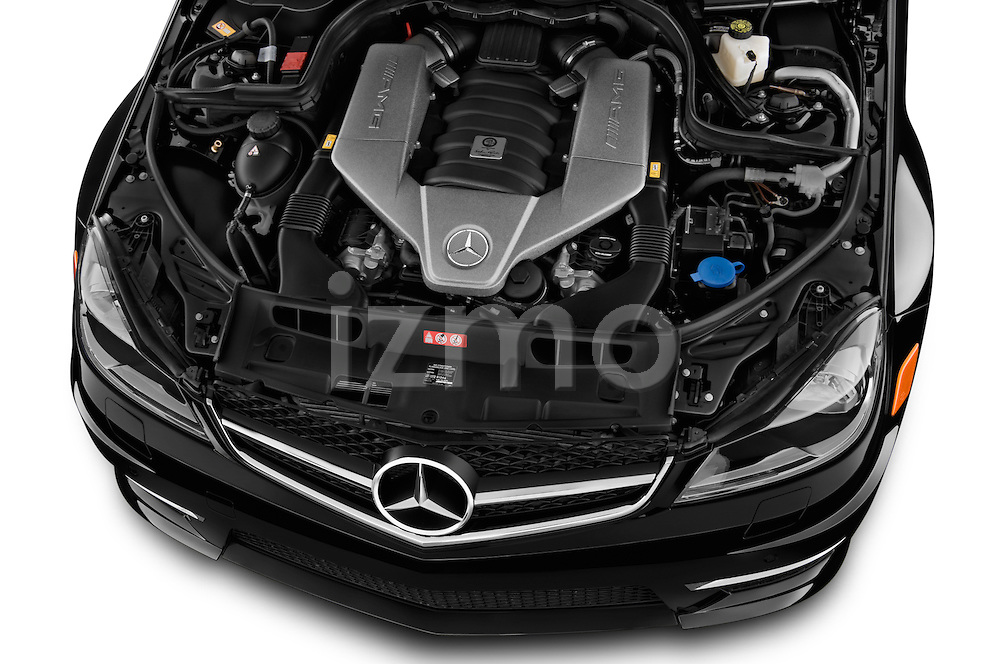 High angle engine detail of a  .2013 Mercedes C-Class C63 AMG Sedan