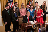 United States President Donald J. Trump makes remarks and signs an executive order that will require colleges that receive federal research grant money to certify that they promote free speech in the East Room of the White House in Washington, DC on Thursday, March 21, 2019.<br /> Credit: Ron Sachs / CNP