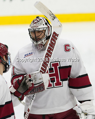 Merrick Madsen (Harvard - 31) - The visiting Colgate University Raiders shut out the Harvard University Crimson for a 2-0 win on Saturday, January 27, 2018, at Bright-Landry Hockey Center in Boston, Massachusetts.