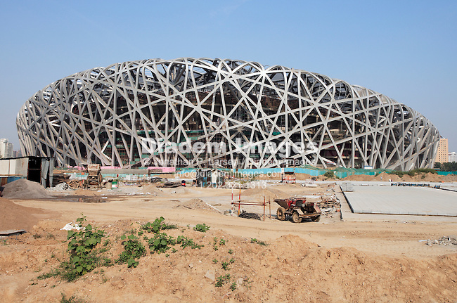 "BEIJING - SEPTEMBER 7:  The summer Olympic Games ""Bird's Nest"" stadium under construction September 7, 2007 in Beijing, China. Editorial use only.  (Photograph by Jonathan P. Larsen)"