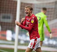 7th July 2020; City Ground, Nottinghamshire, Midlands, England; English Championship Football, Nottingham Forest versus Fulham; Joe Worrall of Notts Forest angered by a decision that goes the wrong way