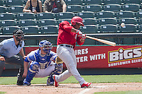 Memphis Redbirds outfielder Oscar Taveras #15 connects on a home run to right field during the Pacific Coast League baseball game against the Round Rock Express on April 27, 2014 at the Dell Diamond in Round Rock, Texas. The Express defeated the Redbirds 6-2. (Andrew Woolley/Four Seam Images)