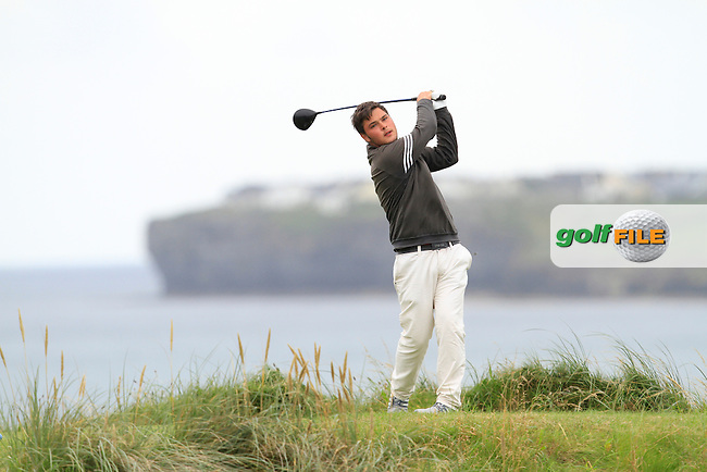 Stuart Bleakley (Shandon Park) on the 12th tee during the Quarter Finals of The South of Ireland in Lahinch Golf Club on Tuesday 29th July 2014.<br /> Picture:  Thos Caffrey / www.golffile.ie