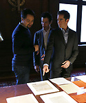Lin-Manuel Miranda, Thomas Kail and Andy Blankenbuehler from the 'Hamilton' creative team during a CBS Morning News interview taping with John Dickerson at The Library of Congress on December 2, 2018 in Washington, D.C.