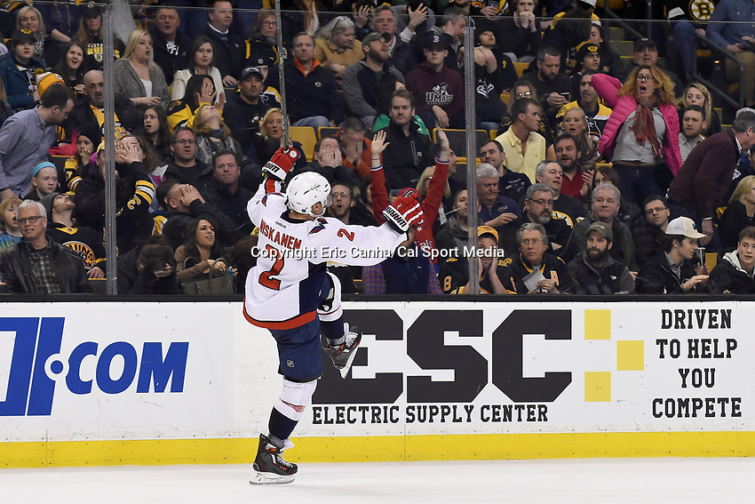 Saturday, March 5, 2016: Washington Capitals defenseman Matt Niskanen (2) reacts to his overtime goal during the National Hockey League game between the Washington Capitals and the Boston Bruins, held at TD Garden, in Boston, Massachusetts. Washington defeats Boston 2-1 in a 3 on 3 overtime period. Eric Canha/CSM