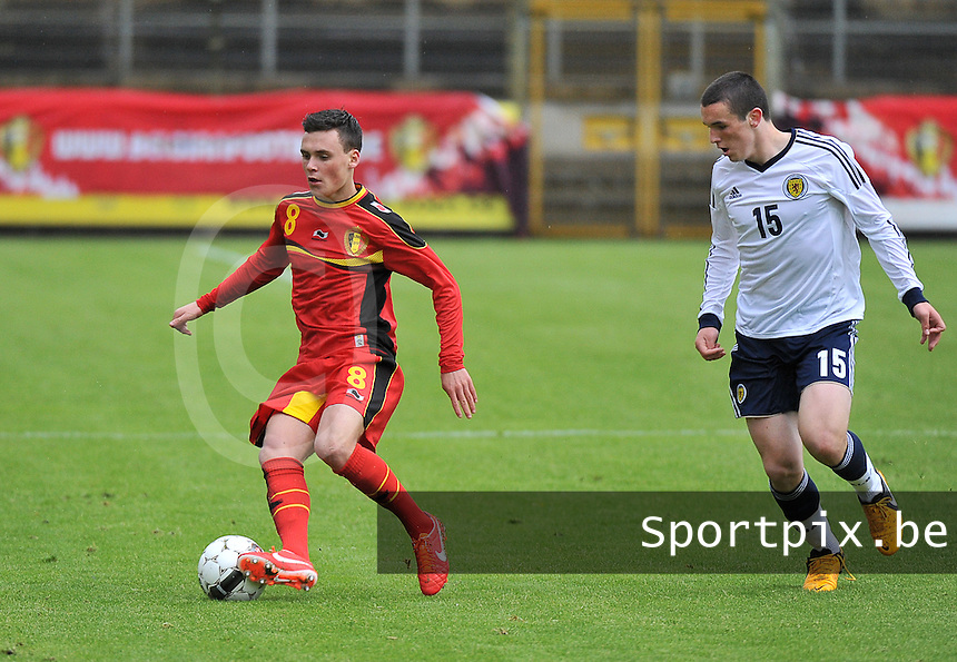 Scotland U19 - Belgium U19 : Birger Verstraete (8) and John Mcginn (15).foto DAVID CATRY / Nikonpro.be