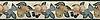 """8"""" Orchard border, a hand-cut stone mosaic, shown in polished Botticino, Verde Luna, Spring Green, Verde Alpi, Red Lake, Blue Bahia, Blue Macauba, Lavender Mist, Breccia Oniciata, Breccia Pernice, Red Travertine, Giallo Reale, Renaissnace Bronze, and Rosa Verona."""