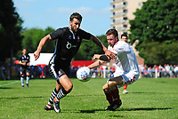 Lincoln City's Ollie Palmer vies for possession with Lincoln United's Sean Wright<br /> <br /> Photographer Chris Vaughan/CameraSport<br /> <br /> Football - Pre-Season Friendly - Lincoln United v Lincoln City - Saturday 8th July 2017 - Sun Hat Villas Stadium - Lincoln<br /> <br /> World Copyright &copy; 2017 CameraSport. All rights reserved. 43 Linden Ave. Countesthorpe. Leicester. England. LE8 5PG - Tel: +44 (0) 116 277 4147 - admin@camerasport.com - www.camerasport.com