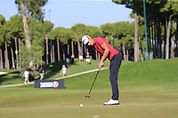 Joakim Lagergren (SWE) putts on the 7th green during Saturday's Round 3 of the 2018 Turkish Airlines Open hosted by Regnum Carya Golf &amp; Spa Resort, Antalya, Turkey. 3rd November 2018.<br /> Picture: Eoin Clarke | Golffile<br /> <br /> <br /> All photos usage must carry mandatory copyright credit (&copy; Golffile | Eoin Clarke)