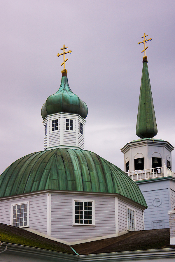 Onion-shaped domes of St. Michaels Cathedral, Sitka, Alaska, USA