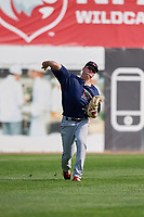 Lowell Spinners left fielder Tyler Esplin (40) throws from the outfield during a game against the Connecticut Tigers on August 26, 2018 at Dodd Stadium in Norwich, Connecticut.  Connecticut defeated Lowell 11-3.  (Mike Janes/Four Seam Images)