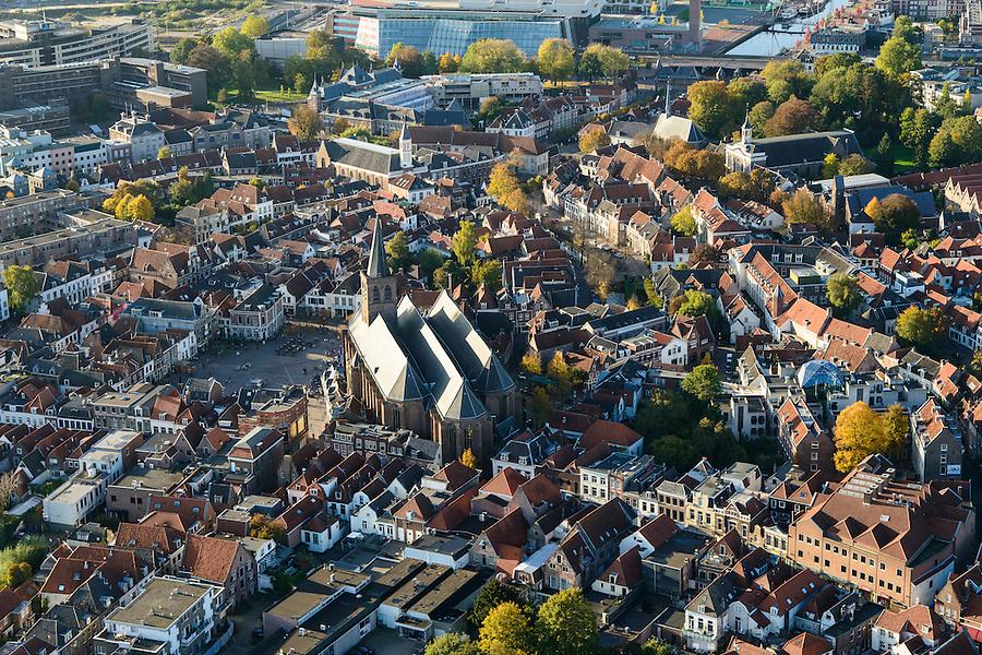 Nederland, Utrecht, Amersfoort, 24-10-2013. Centrum met SInt Joriskerk.<br /> Old town of Amsersfoort with church, modern high rise in the back. <br /> luchtfoto (toeslag op standaard tarieven);<br /> aerial photo (additional fee required);<br /> copyright foto/photo Siebe Swart.