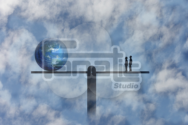 A concept image of two children one one side of a seesaw and planet earth on the other depicting our planet and future generations in a state of balance