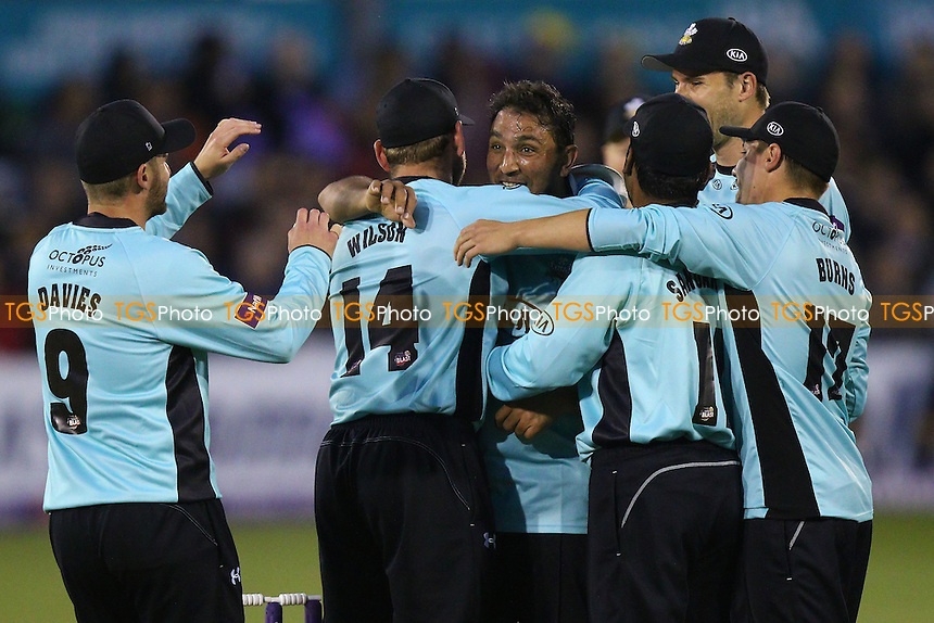 Azhar Mahmood of Surrey (C) celebrates taking the wicket of Daniel Lawrence during Essex Eagles vs Surrey, Nat West T20 Blast Cricket at the Essex County Ground on 20th May 2016