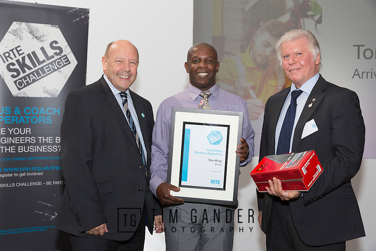 17/07/2015 The IRTE Skills Challenge 2015 prize-giving takes place at The National Motorcycle Museum, Birmingham. Gerry Fleming (left) presents the Top Scoring Electrical Apprentice award to Lloyd Mason on behalf of Tom King of Arriva, who was unable to attend, with John Winter of S&B (right).