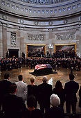 Senator John McCain lies in state in the  Capitol Rotunda, in Washington, DC on Friday, August 31, 2018. McCain, an Arizona Republican, presidential candidate, and war hero, died August 25th at the age of 81. He is the 31st person to lie in state at the Capitol in 166 years. Photo Ken Cedeno/UPI