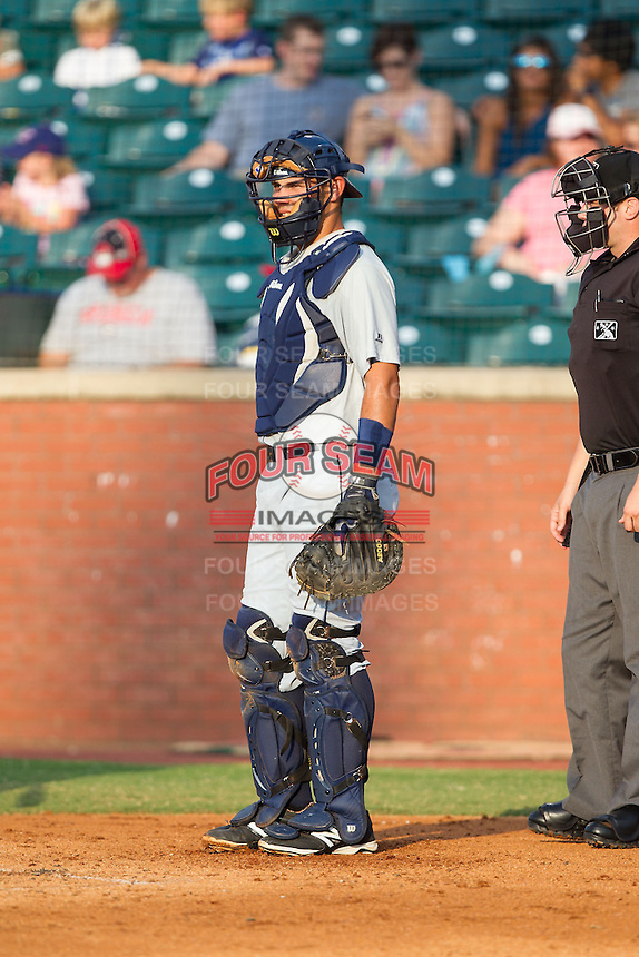 Montgomery Biscuits catcher Luke Maile (21) on defense against the Chattanooga Lookouts at AT&T Field on July 24, 2014 in Chattanooga, Tennessee.  The Biscuits defeated the Lookouts 6-4. (Brian Westerholt/Four Seam Images)