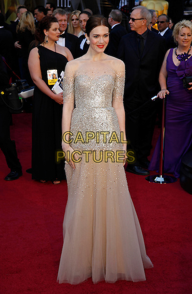 MANDY MOORE.83rd Annual Academy Awards - Oscars.Kodak Theatre, Hollywood, CA, USA..February 27th, 2011 .full length gold sheer mesh sleeves silver maxi tulle cream beige sequined sequin dress .CAP/PE.©Peter Eden/Capital Pictures.
