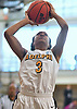 Sierra Clark #3 of Adelphi University drives to the net during the opening round of the NCAA Division II women's basketball Regionals against New York Institute of Technology at Adelphi University on Friday, March 10, 2017. She tallied a game-high 23 points and 15 rebounds to lead the Lady Panthers to a 64-47 win.