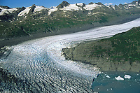 Aerial of glacier in the Chugach mountains, northern Prince William Sound