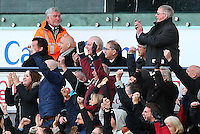 FIFA President Gianni Infantino joins in the celebrations after Gylfi Sigurdsson of Swansea City scores the opening goal during the Barclays Premier League match between Swansea City and Norwich City played at The Liberty Stadium, Swansea on March 5th 2016