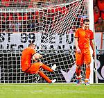 Nederland, Amsterdam, 26 mei 2012.Seizoen 2011/2012.Oefeninterland.Nederland-Bulgarije 1-2.John Heitinga van Oranje ligt in het doel en baalt na de 1-2 nederlaag tegen Bulgarije