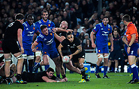 NZ's Aaron Smith passes from a ruck during the Steinlager Series international rugby match between the New Zealand All Blacks and France at Eden Park in Auckland, New Zealand on Saturday, 9 June 2018. Photo: Dave Lintott / lintottphoto.co.nz