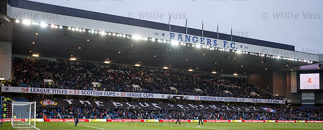 Banner before kick off for the 10th anniversary of Rangers fans group The Blue Order
