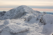 Appalachian Trail - Rime ice on the summit of Mount Lincoln during the winter months in the White Mountains, New Hampshire. The Appalachian Trail (Franconia Ridge Trail) travels over the summit of this mountain.