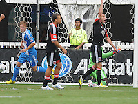 Philadelphia Union midfielder Brain Carroll (7) celebrates his score in the 8th minute of the game. D.C. United tied The Philadelphia Union 1-1 at RFK Stadium, Saturday August 19, 2012.