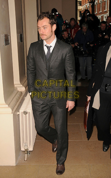 JUDE LAW .The Evening Standard Awards, Royal Opera House, Covent Garden, London, .England, UK, 24th November 2008..full length grey gray suit jacket tie moustache mustache .CAP/CAS.©Bob Cass/Capital Pictures