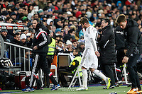 Real Madrid's Spanish Defender Sergio Ramos he retires hurt